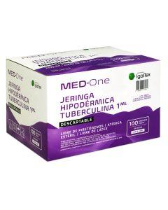 Med-One Jeringa Hipodérmica Descartable s/aguja; 1ml Tuberculina; 100u/Caja